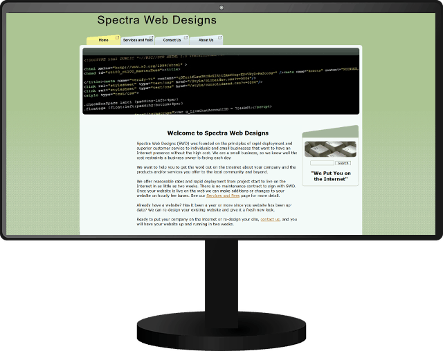 Image of Old Spectra Web Designs Website
