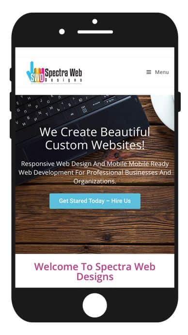Image of website responsive website on an iPhone