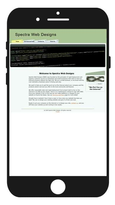 Image of non-responsive website on an iPhone