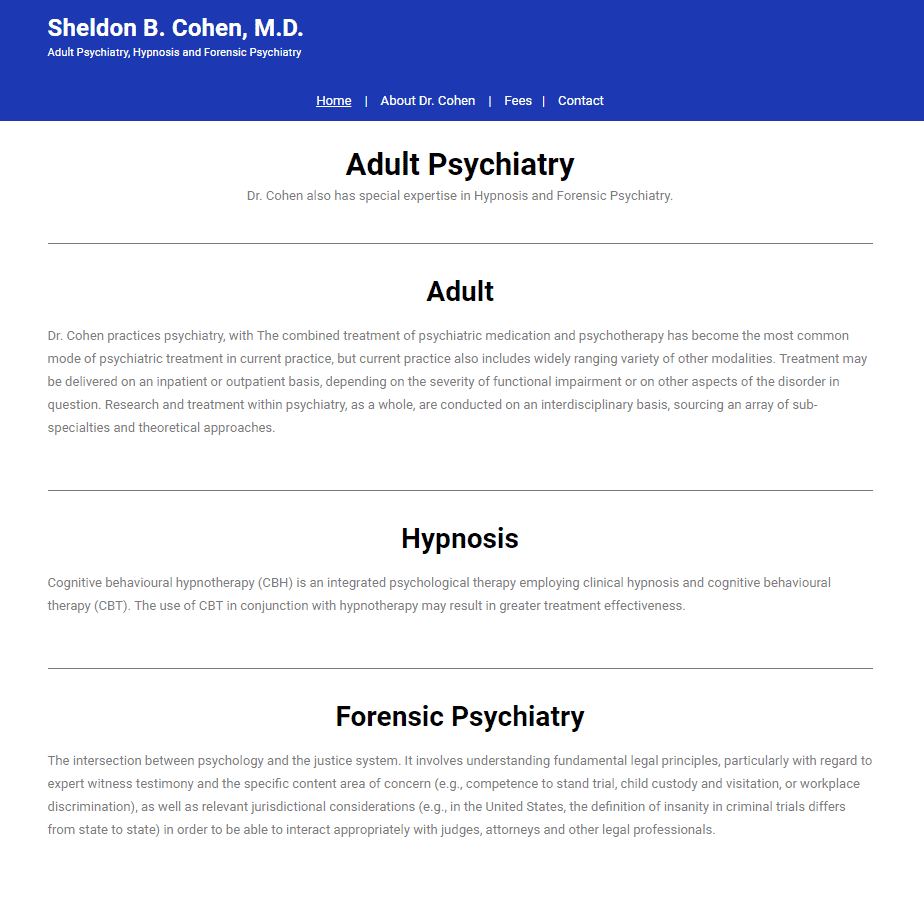 Image of Dr. Sheldon B. Cohen M.D. Website