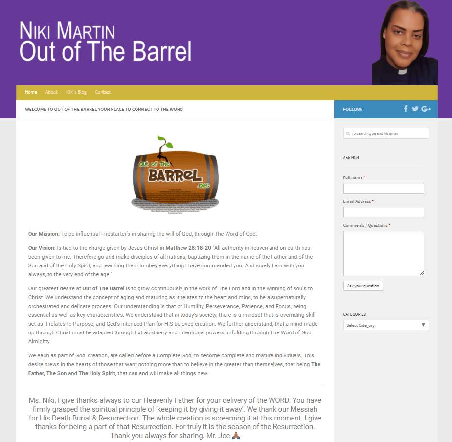 Image of Out of the Barrel.org Website