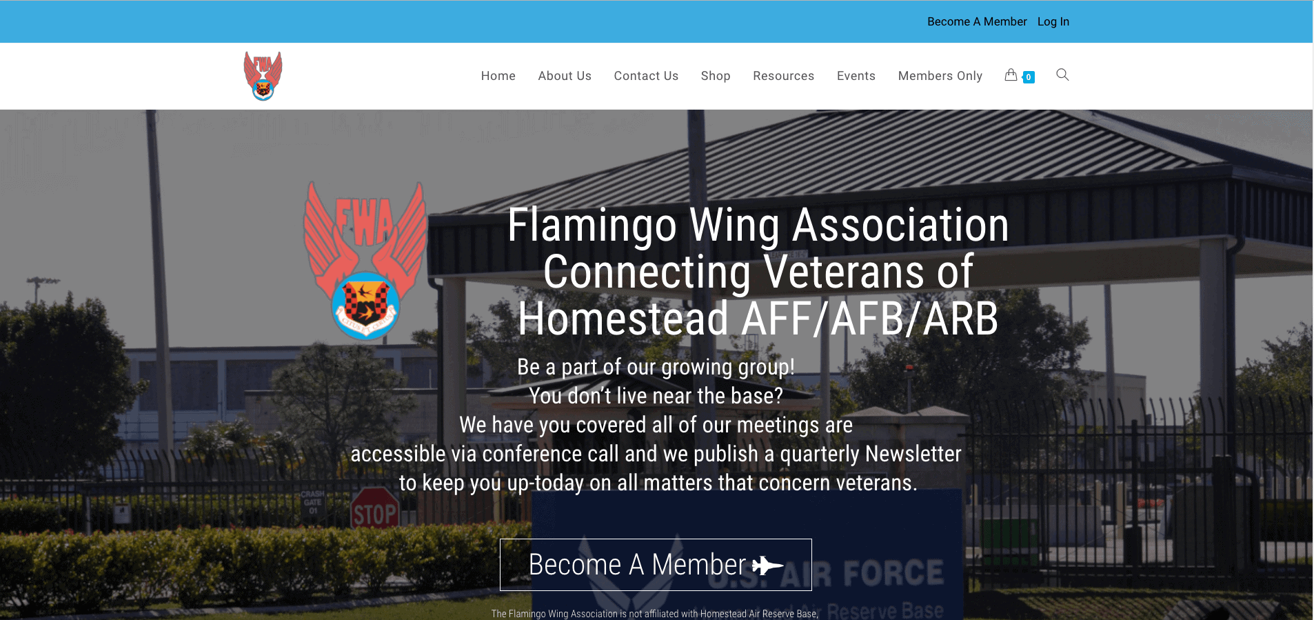 Screenshot of the Flamingo Wing Association home page.