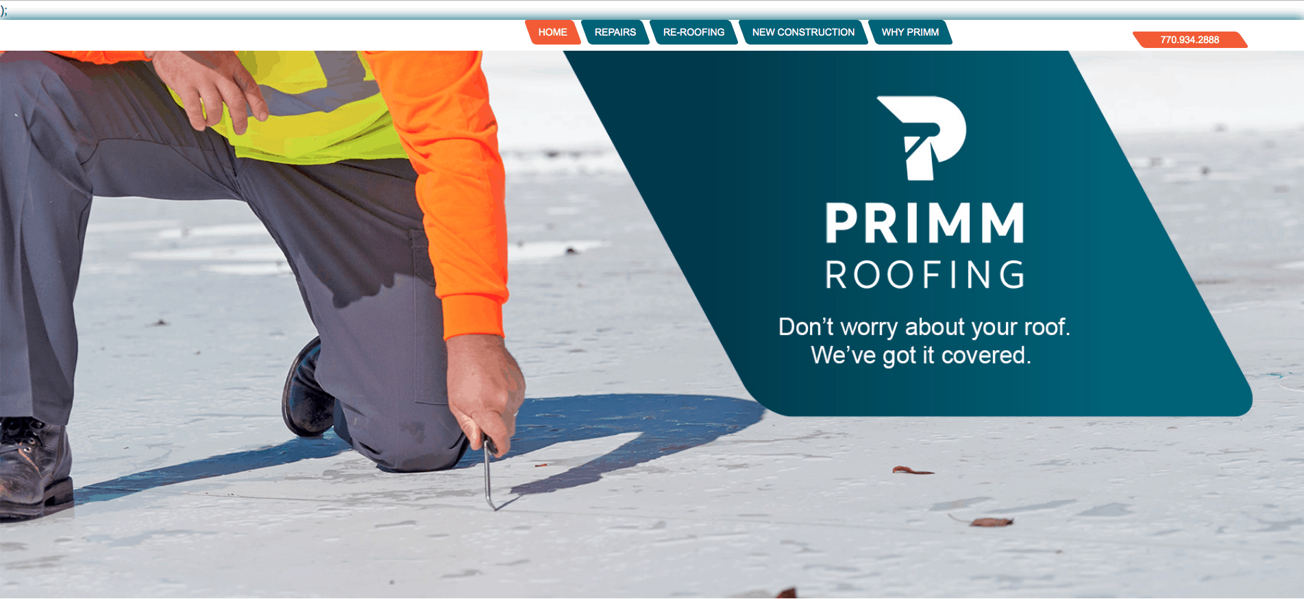 Primm Roofing Old Home Page