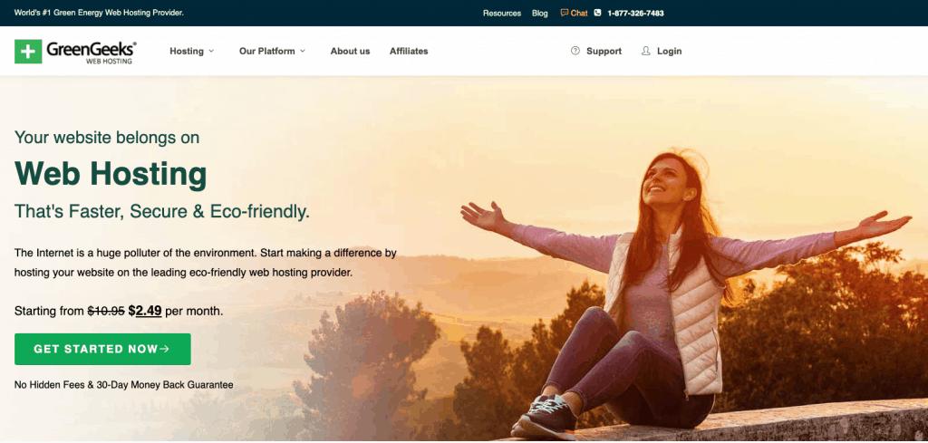 Screen shot of GreenGeeks home page